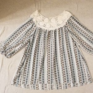 Crochet collar peasant top